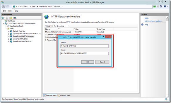 IIS HNSC Group site Response Headers - Add X-Frame-Options